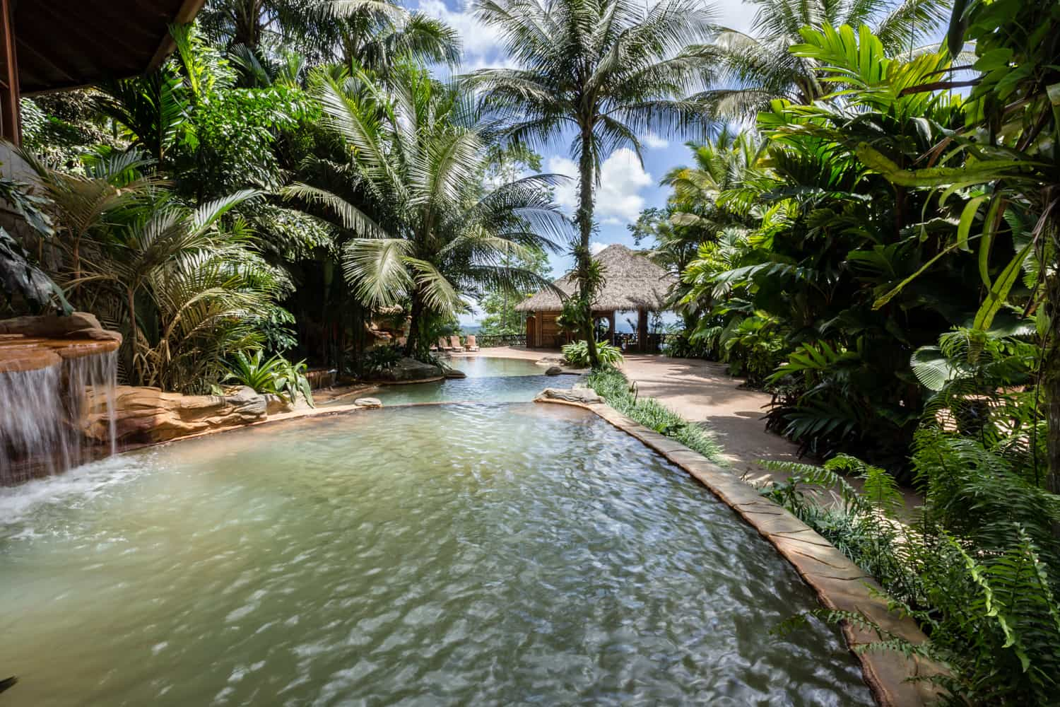 The thermal pool next to open-air area of Treetops for wedding guests.