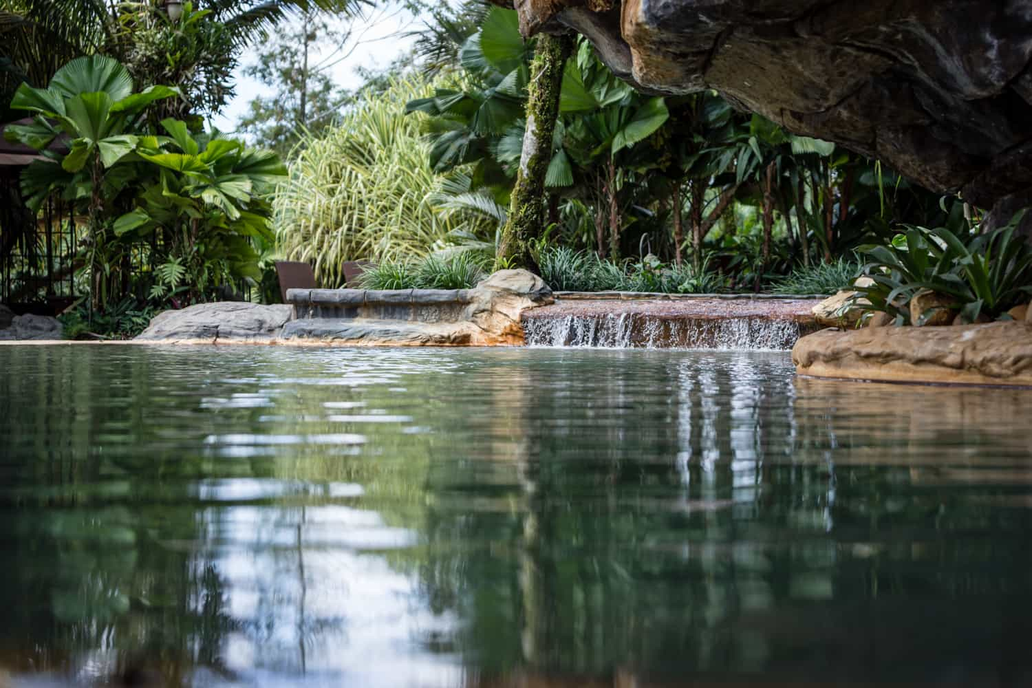 Waterfall at pool by Treetops wedding ceremony & reception site.