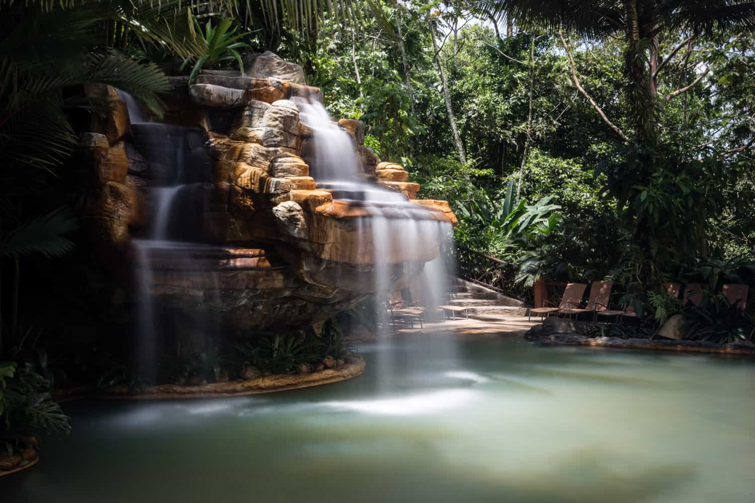 View of thermal springs waterfall from Treetops wedding and reception location.