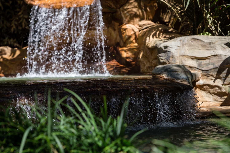 Waterfall at a thermal springs pool.