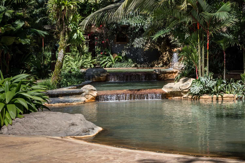 Thermal springs pool that borders Treetops terrace.