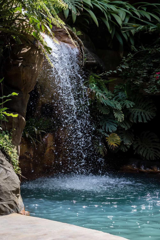Waterfall that feeds thermal pool at El Ranchito.
