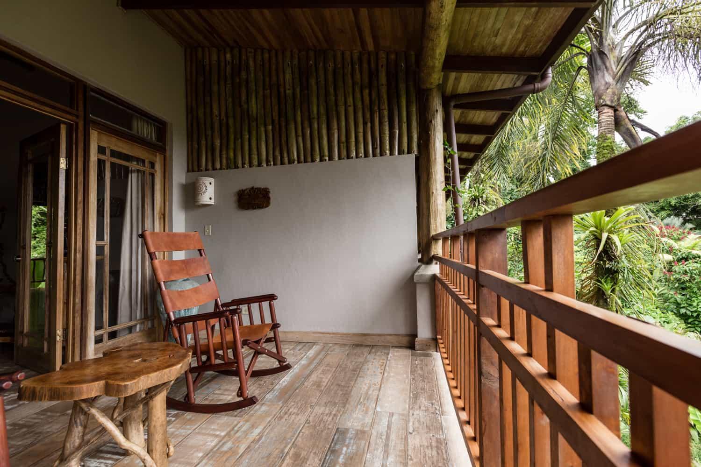 Balcony overlooking rainforest & Arenal Volcano at Lost Iguana Resort.