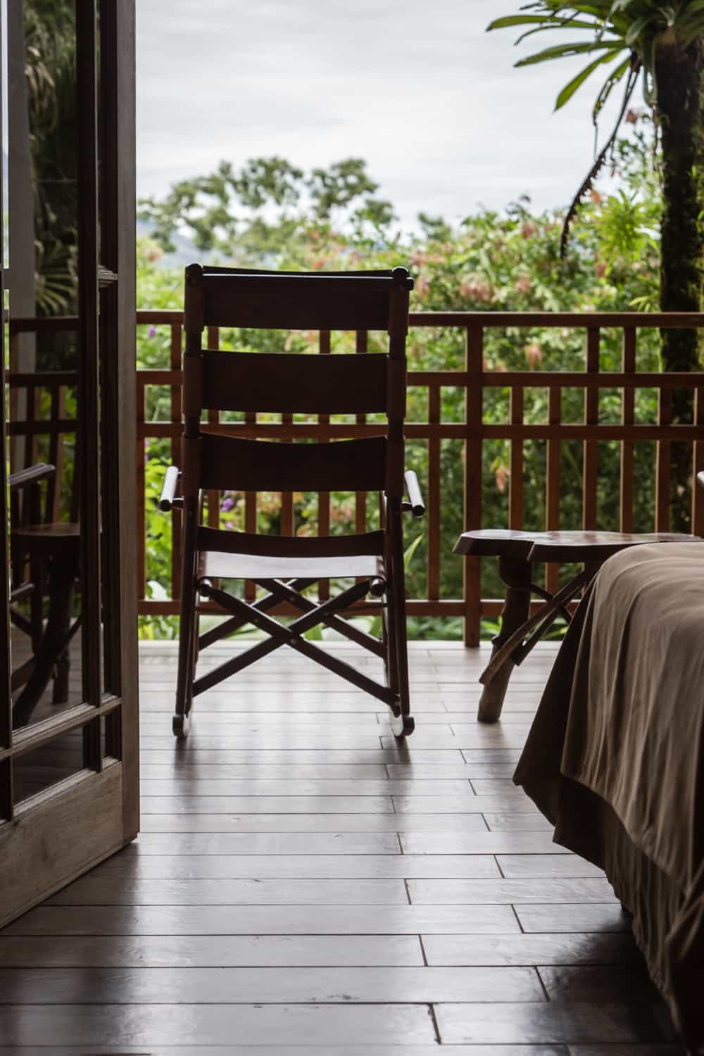 View of guest room balcony for wedding guests at La Fortuna Resort.