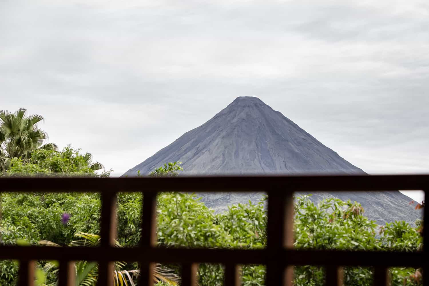 Photo of Arenal Volcano from balcony of wedding guest room.