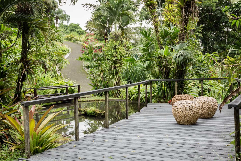 Small deck at Lost Iguana in La Fortuna for intimate wedding.