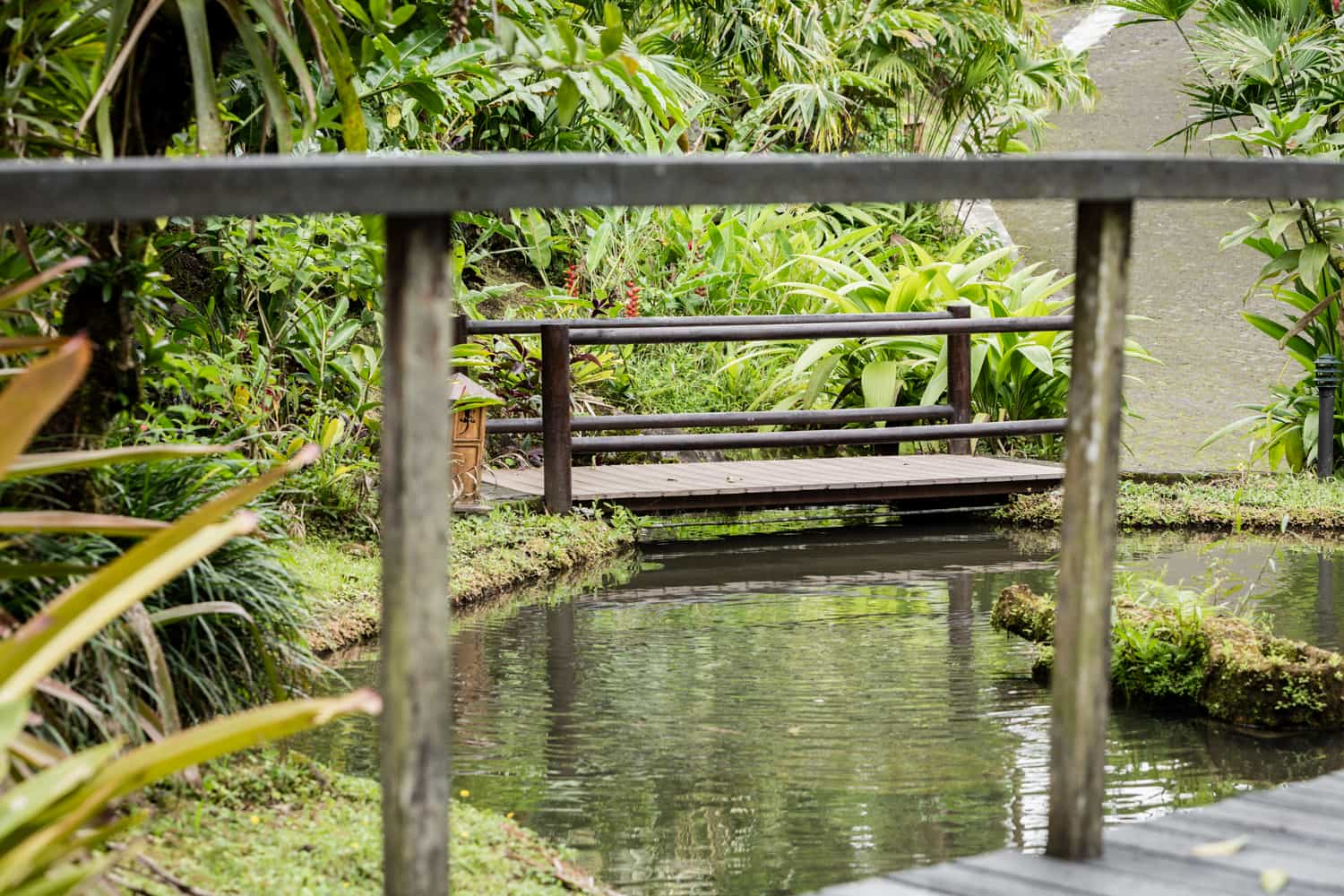 View of wood bride from deck that is ideal for intimate ceremonies in La Fortuna.