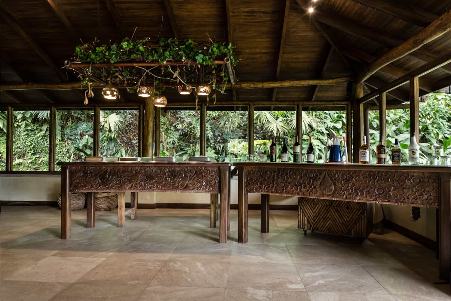 Open area for dancing and buffet for wedding celebration in La Fortuna.