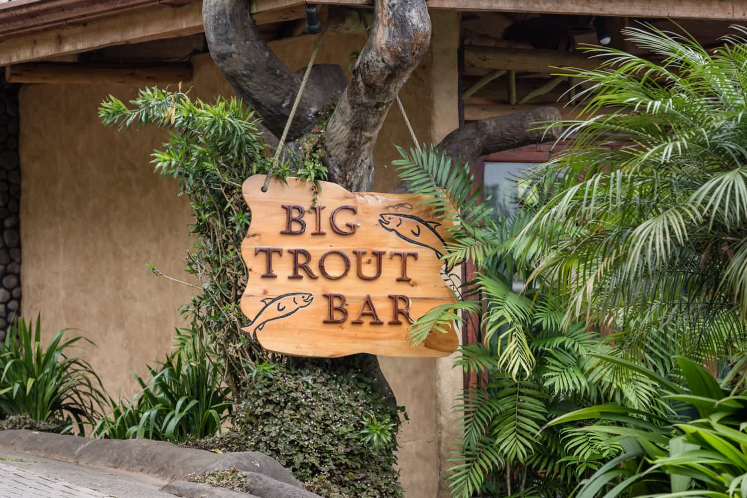 Big Trout Bar sign near entrance to wedding event location.