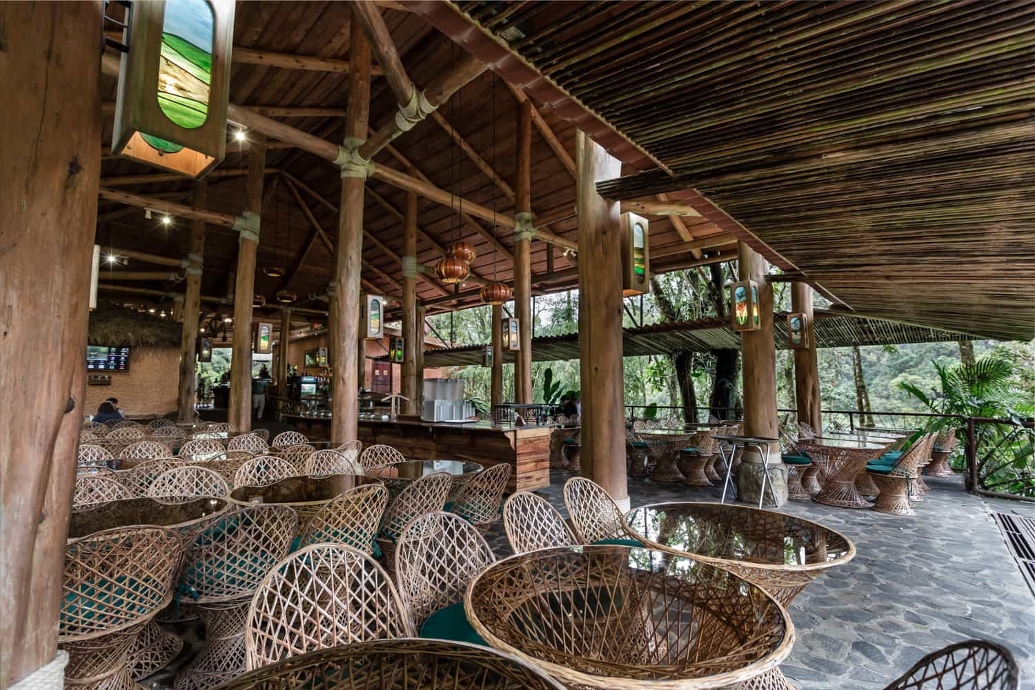 Rear wedding party seating area with view of Poas cloud forest.