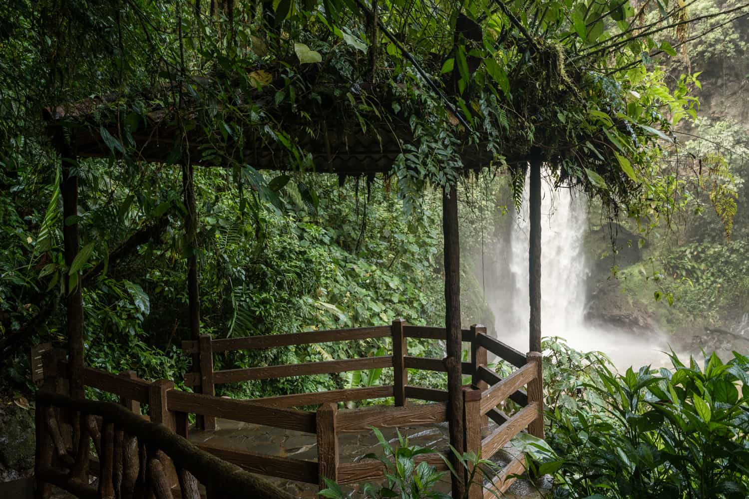 Waterfall gazebo for La Paz Waterfall Gardens wedding ceremony or elopement.