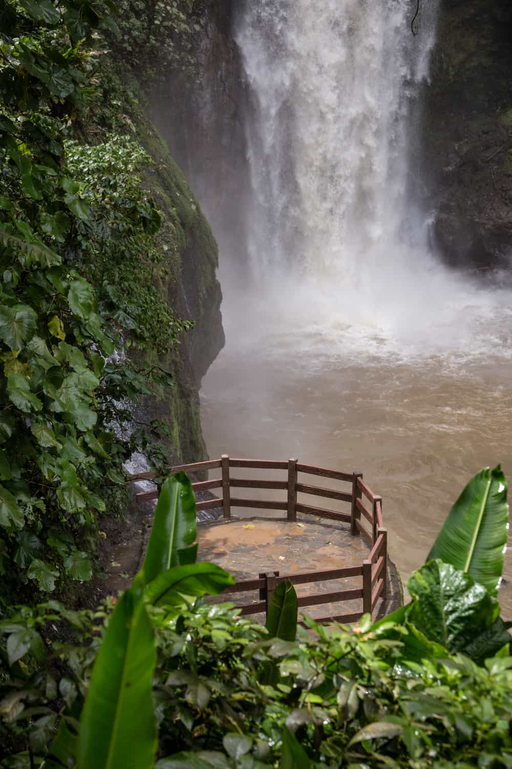 See the base of Magia Blanca Waterfall from wedding ceremony terrace.