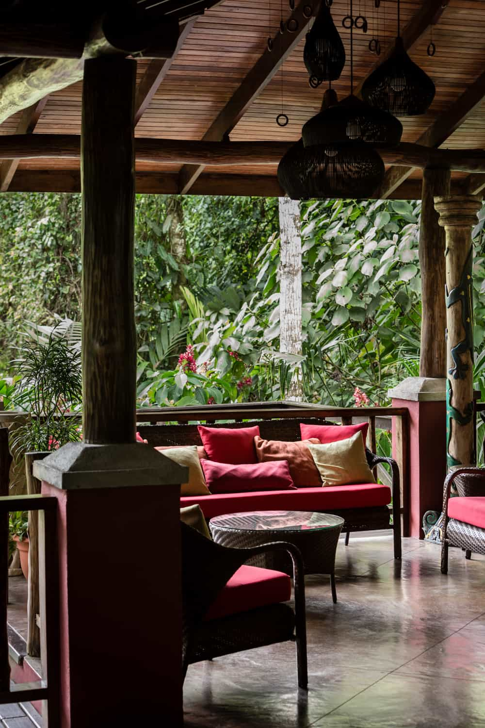 Seating area to relax while checkin in for your rainforest wedding in La Fortuna.
