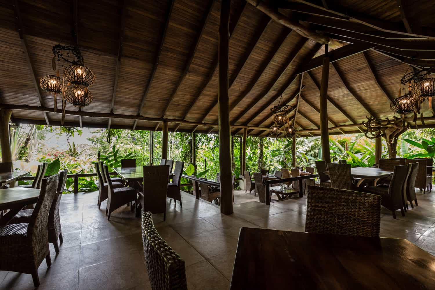 Main dining area for wedding party at Lost Iguana Resort & Spa in La Fortuna.