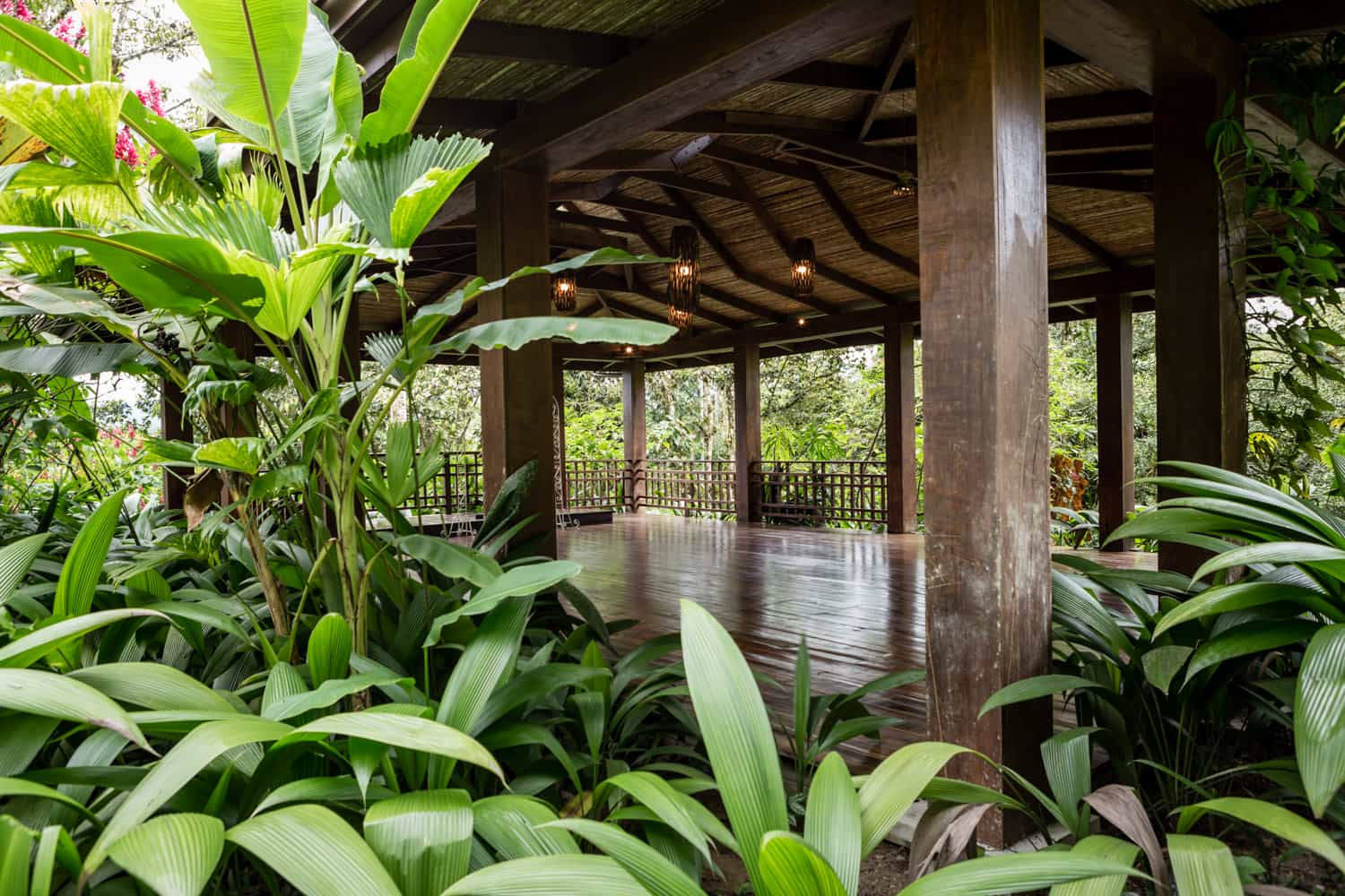 Outside view of pavilion for wedding ceremonies at Lost Iguana in La Fortuna.