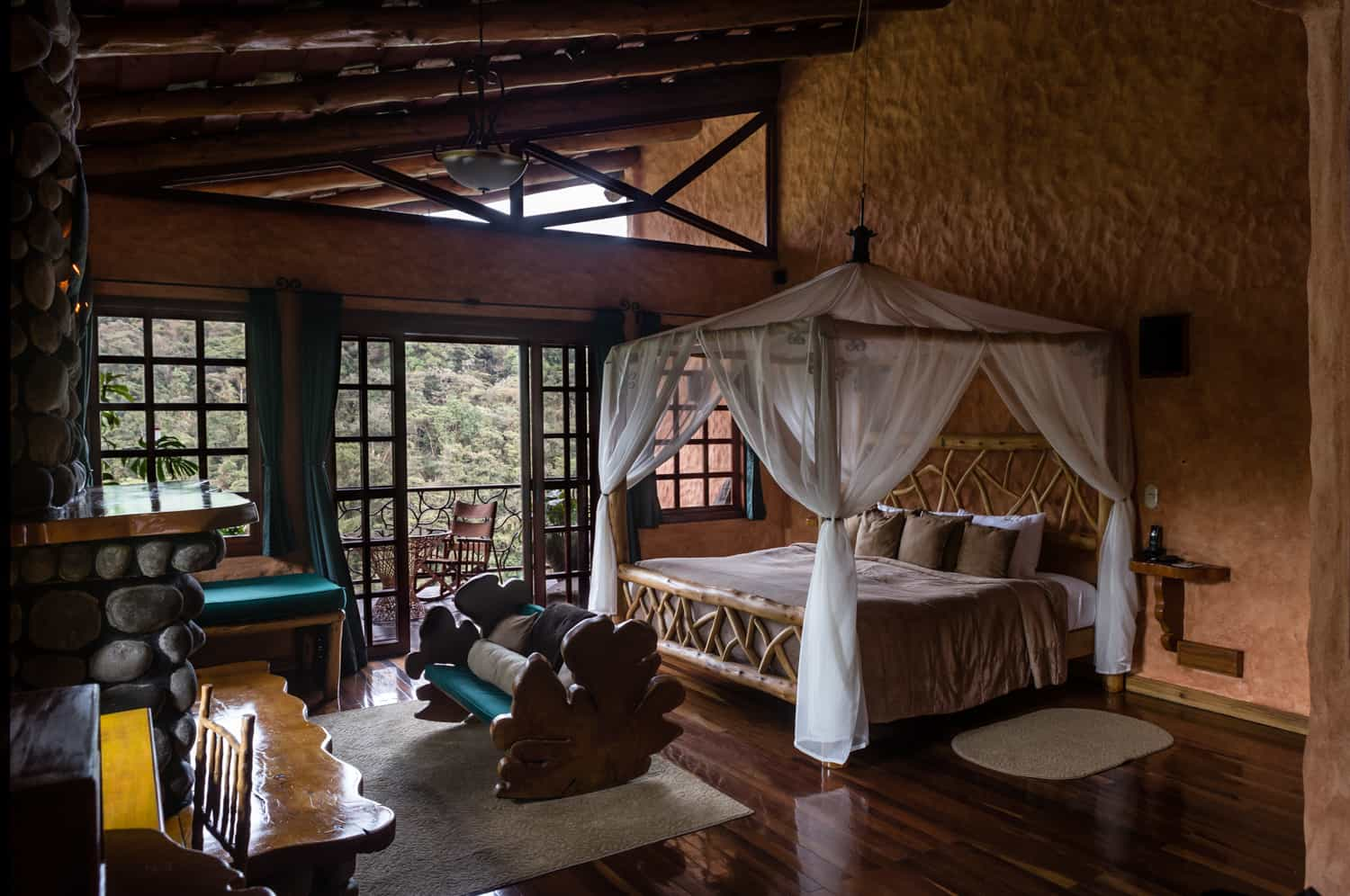 This is the beautiful Honeymoon Suite at Peace lodge with a great view of the cloud forest and Poas Volcano.