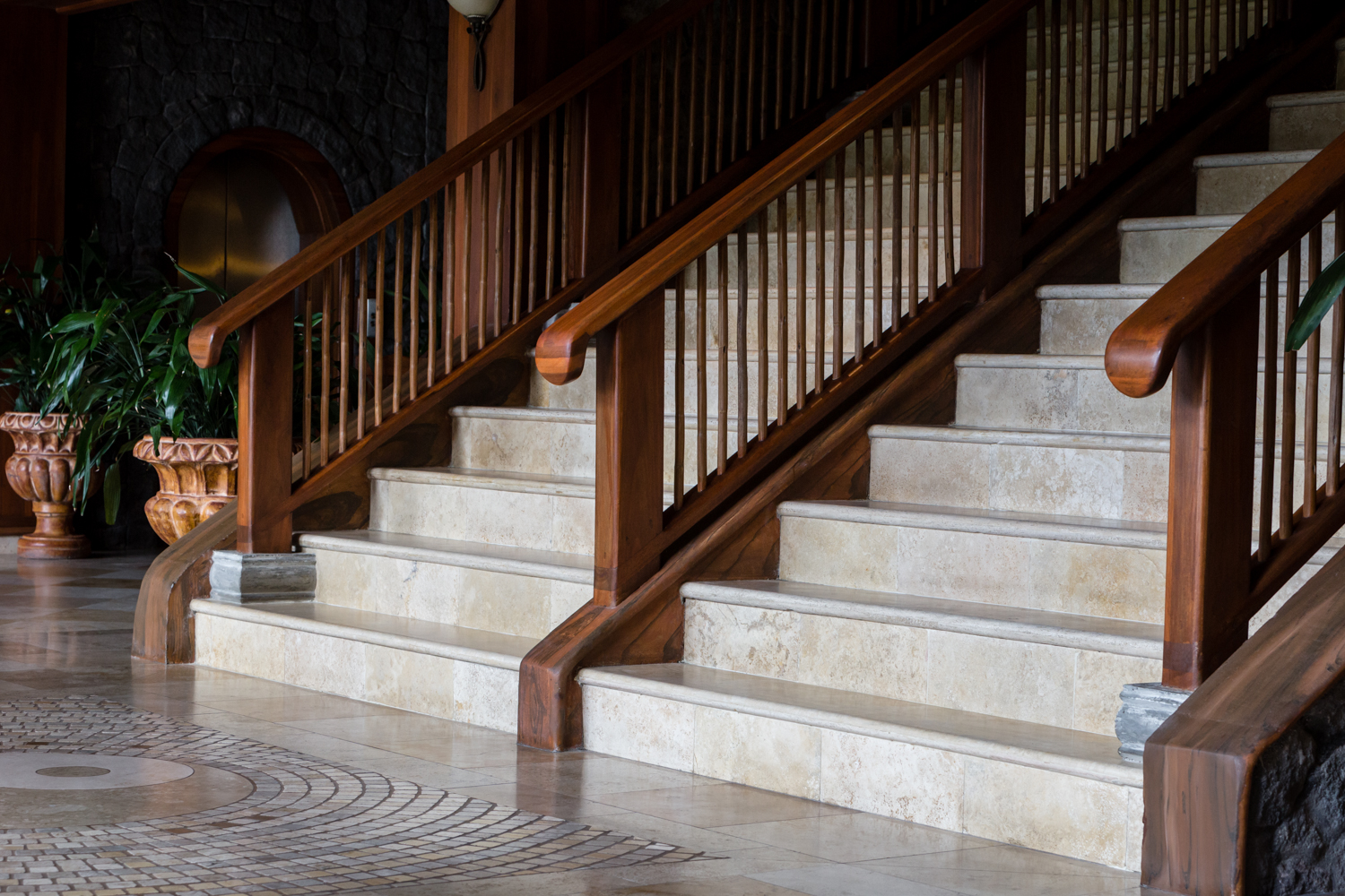 Base of the beautiful staircase in the Reception Building is a great place for elegant wedding portraits.
