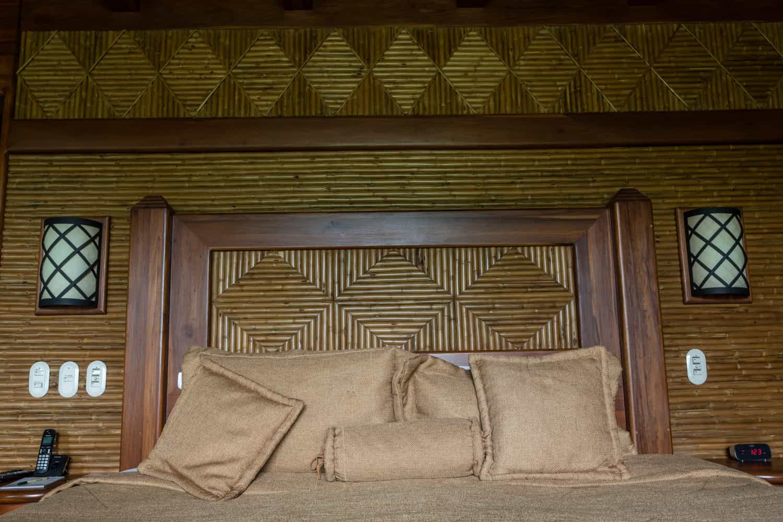 Wood headboard of wedding guest room at Springs Resort.