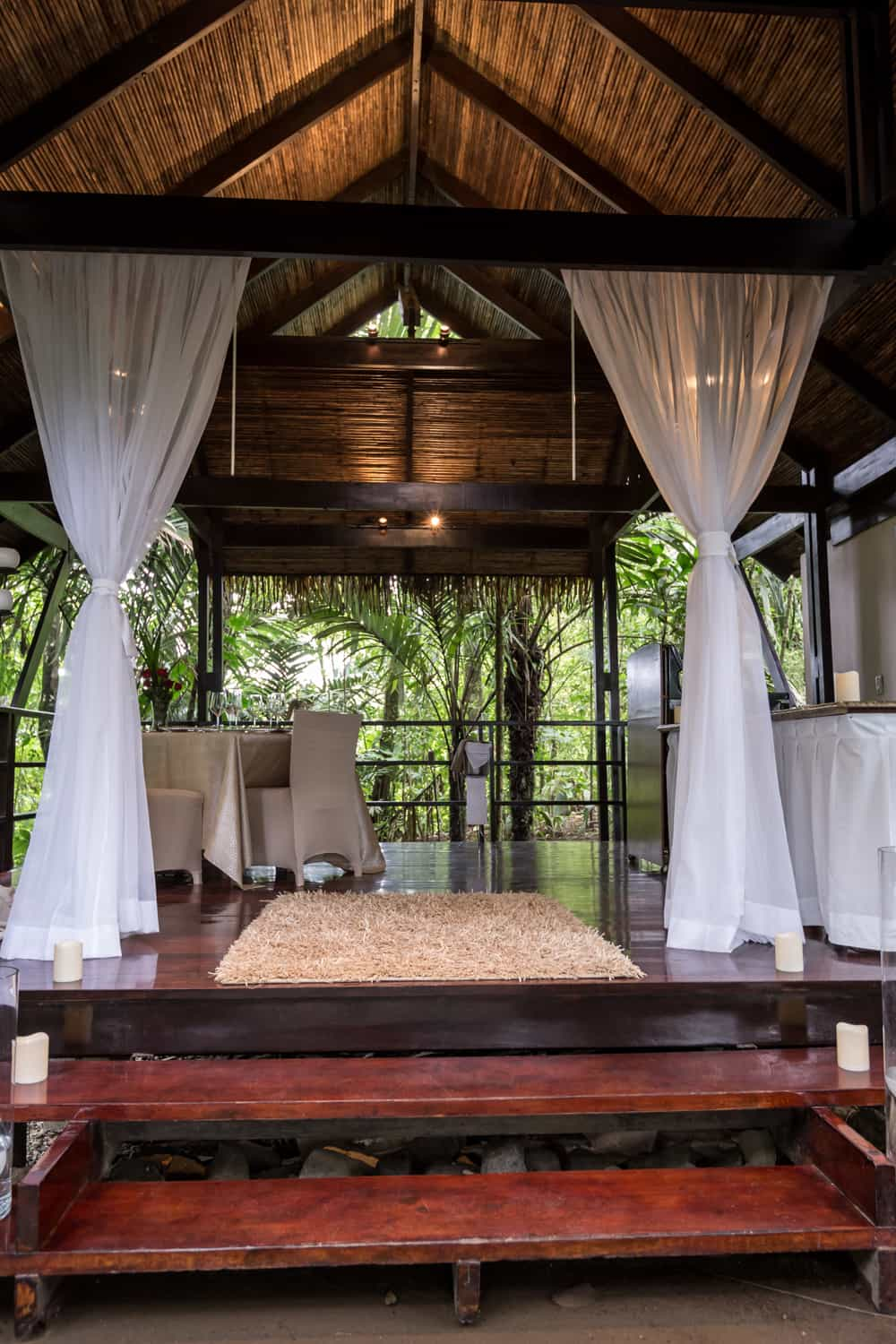 Entrance to bungalow for romantic newlywed dinner.