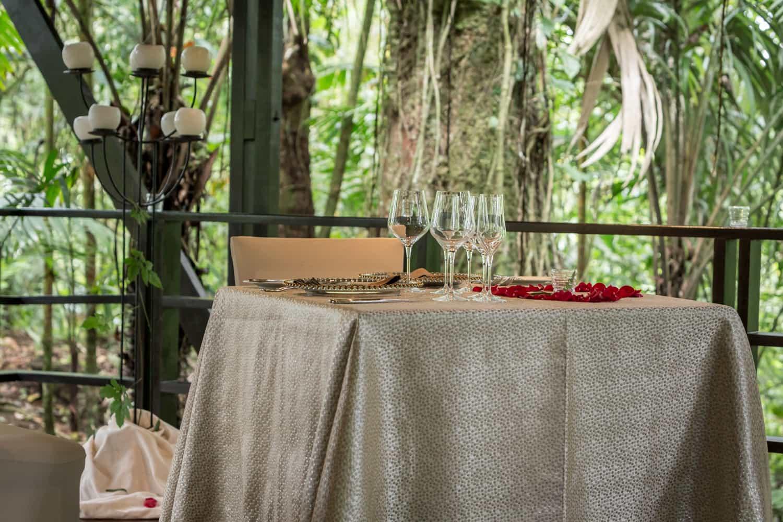 Elegant dinner table for newlyweds in rainforest setting.