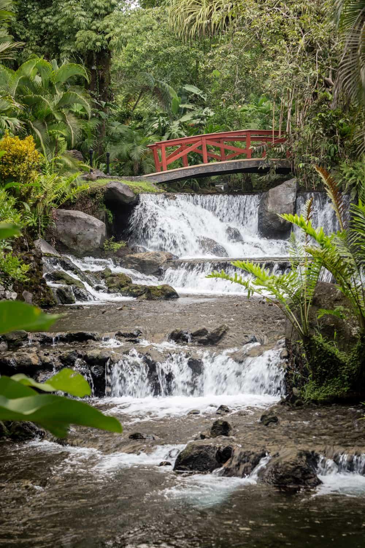 Cascading waterfalls beneath picturesque red bridge for weddings.