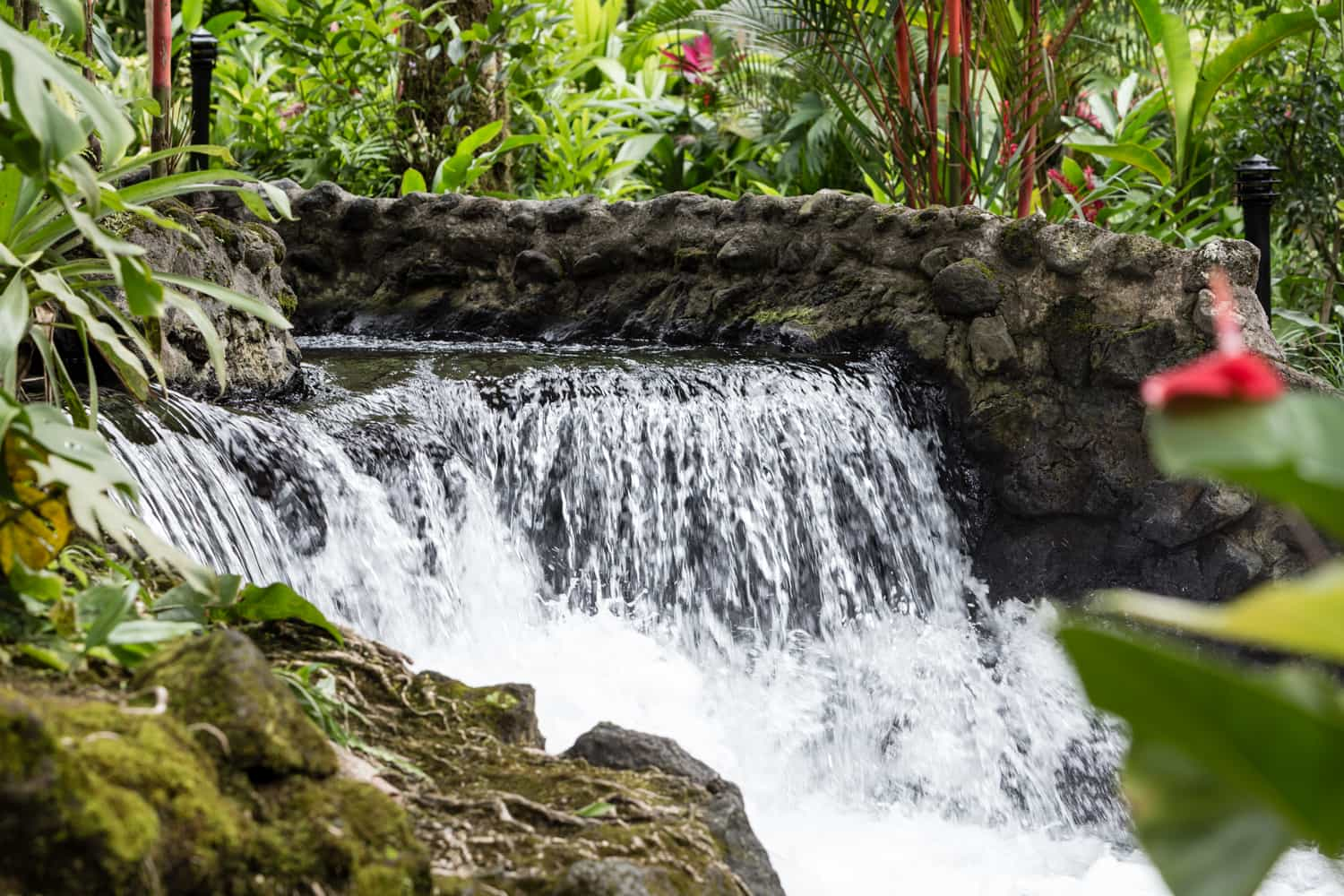 Water from Tabacon thermal spring pours down waterfall.