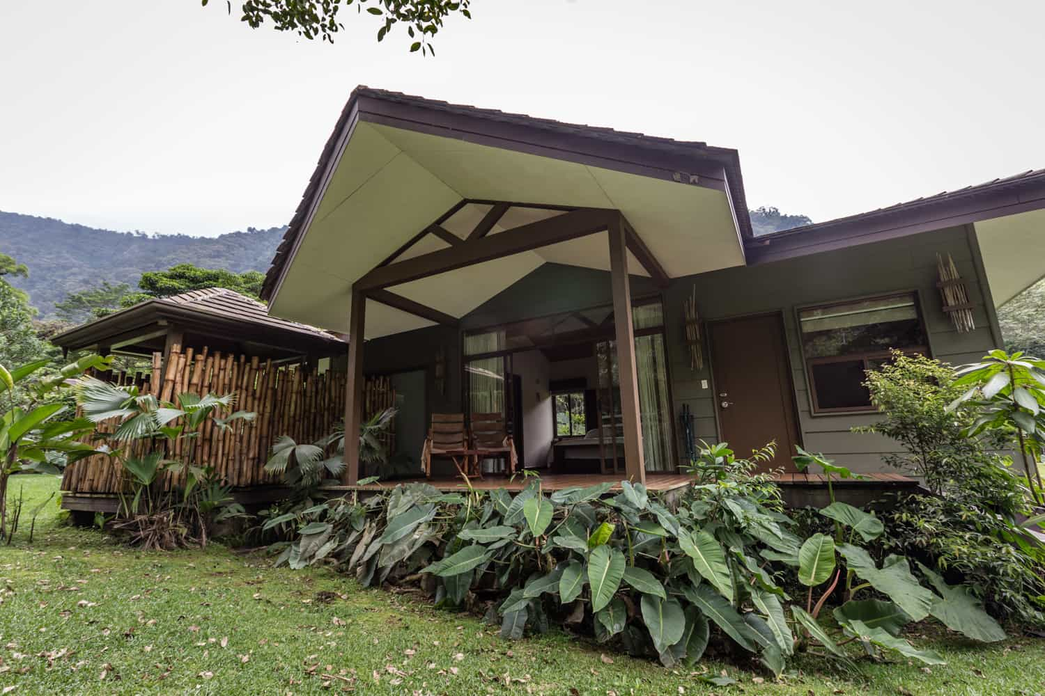 Front view of El Silencio guest room with mountain in background.