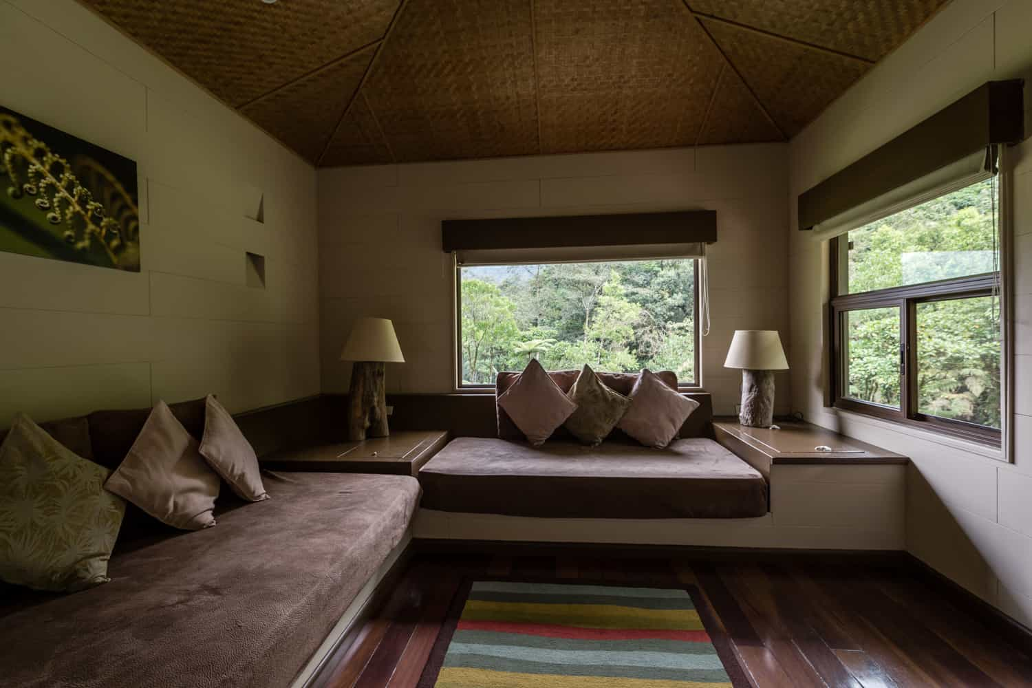 Large windows with views of cloudforest and river in seating area.