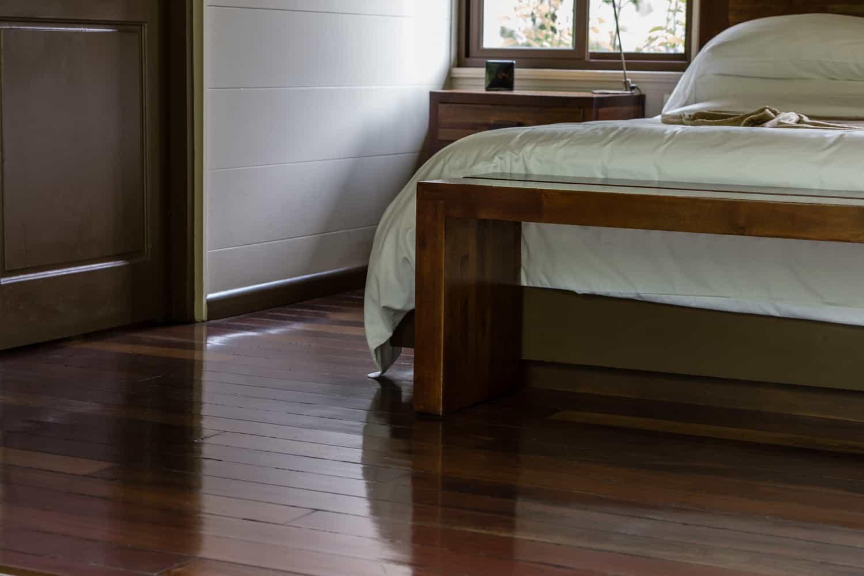 Front view of bed in El Silencio honeymoon suite.
