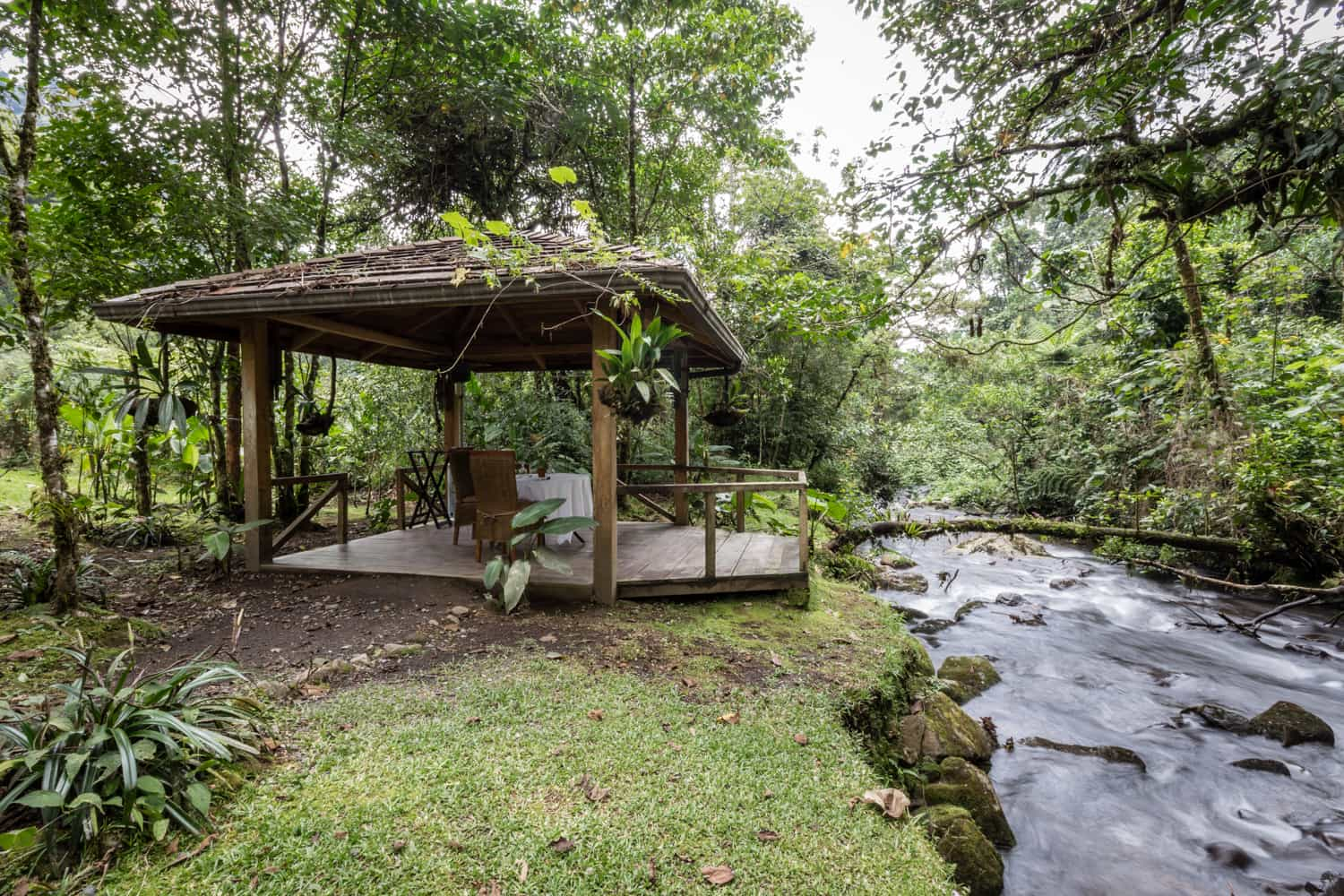 Gazebo for elopements next to river in cloud forest.