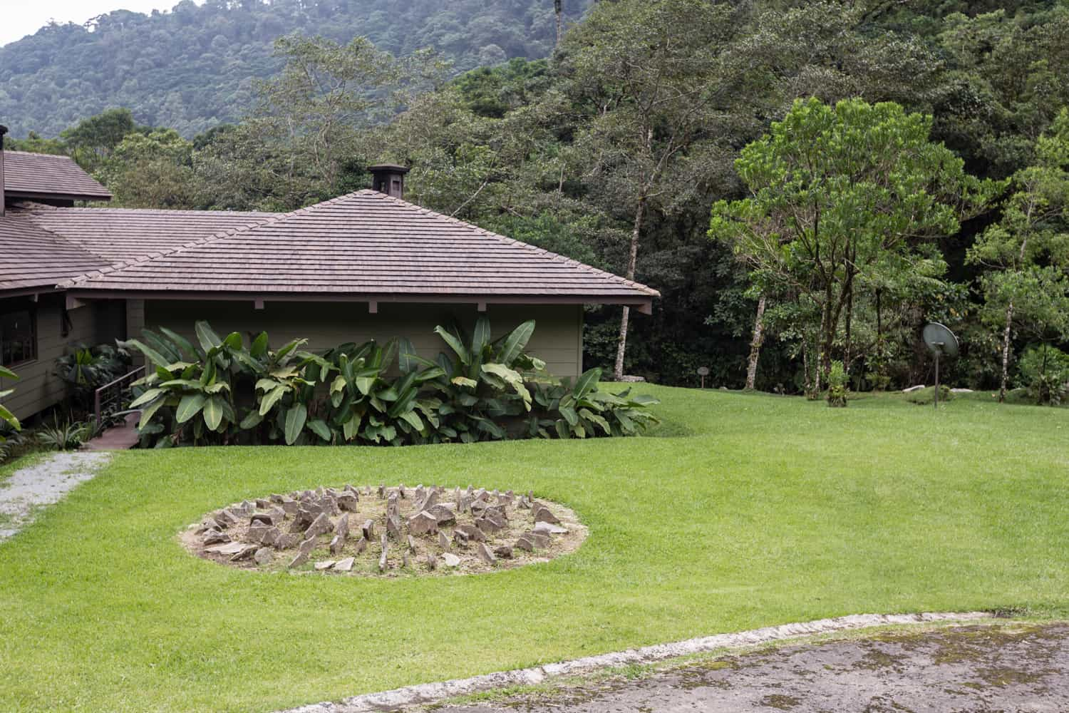 Lush lawn as great site for wedding ceremony in cloud forest.