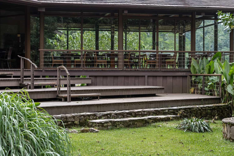 Deck for wedding ceremonies behind main restaurant.