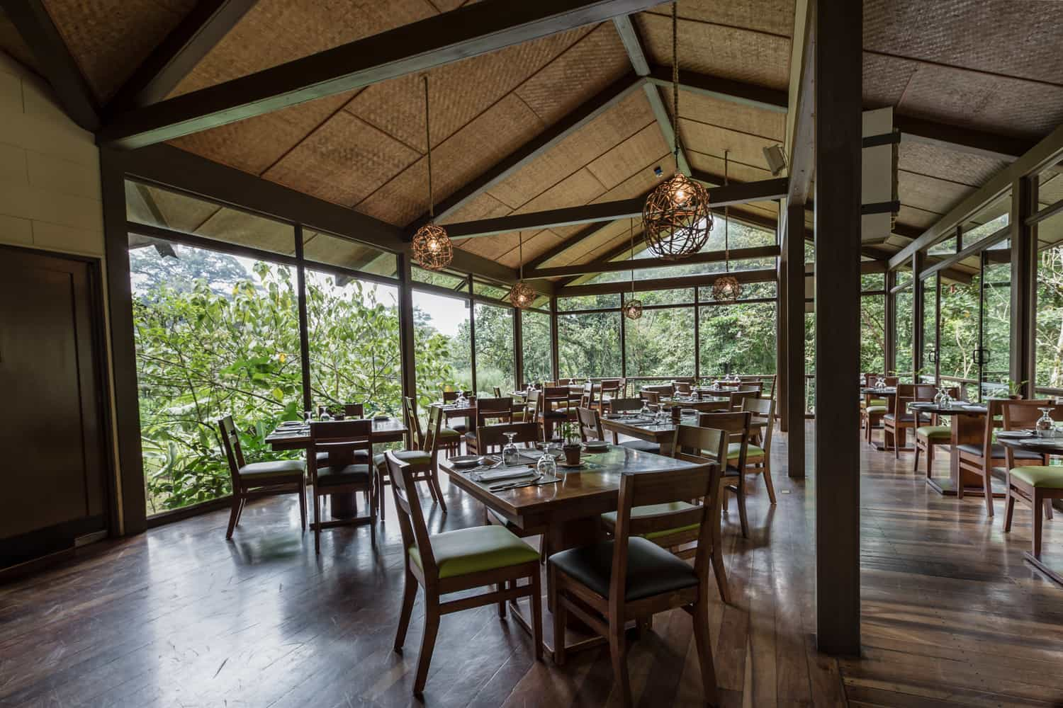 Reception area with wood floors and views of cloud forest.