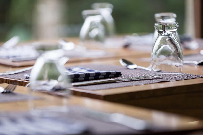Close-up photo of table settings in El Silencio wedding venue.