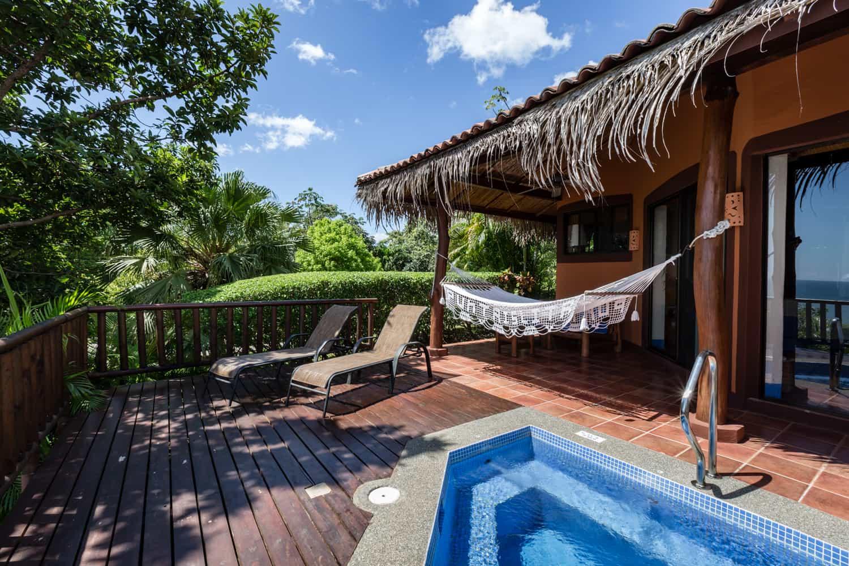 View of hot tub and terrace at Punta Islita's honeymoon suite.