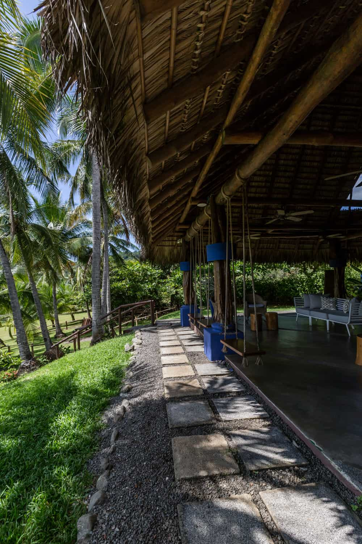 Side view of beach restaurant site for wedding reception at Hotel Punta Islita.