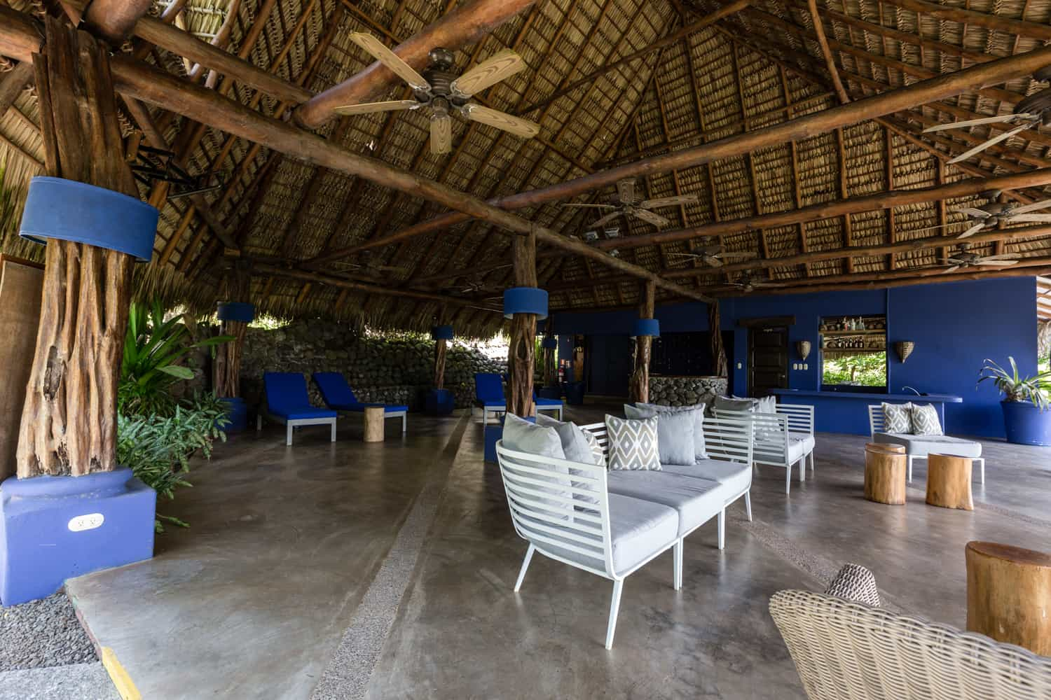 Seating area at Los Cocos Restaurant at Hotel Punta Islita for wedding dinner.