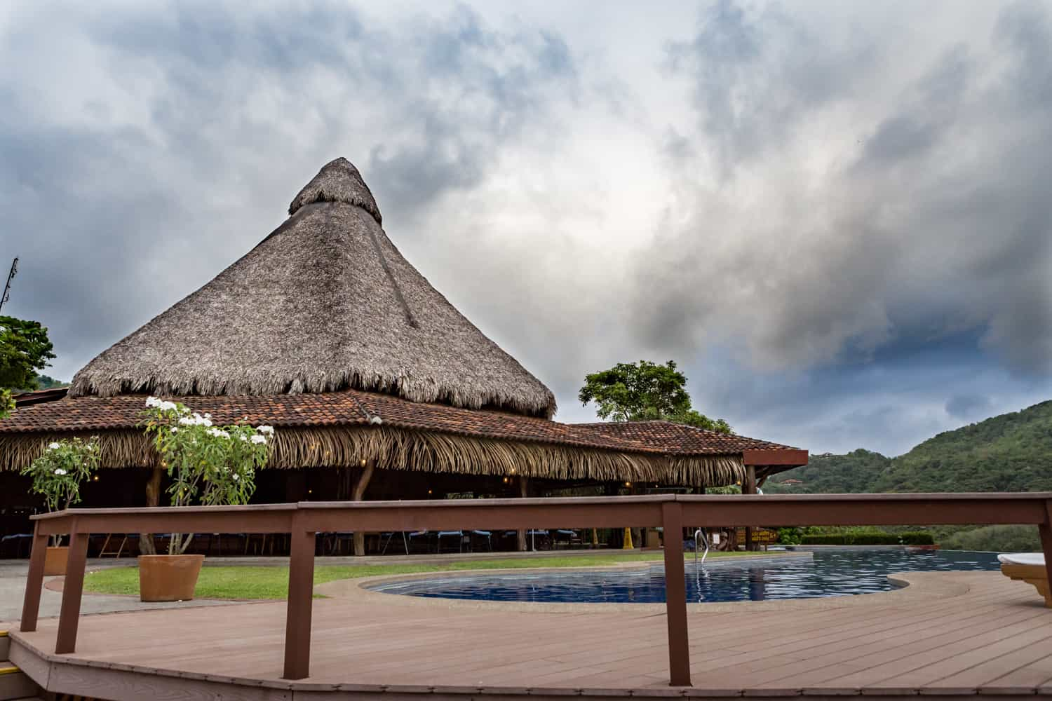 Thatched room of main restaurant at Hotel Punta Islita for wedding receptions.