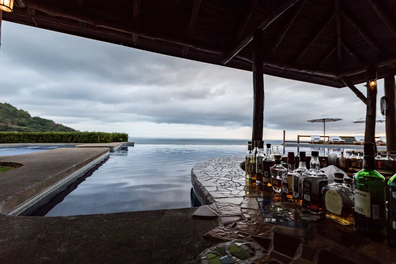 Hotel Punta Islita's terrace with infinity pool and submerged bar is great place for wedding party.
