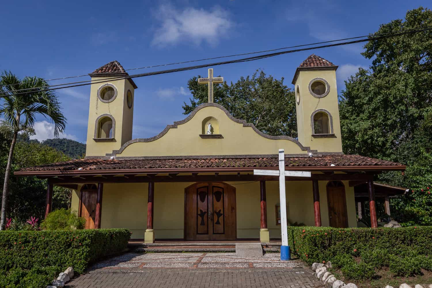 Front of small Catholic Church in Punta Islita for traditional weddings.