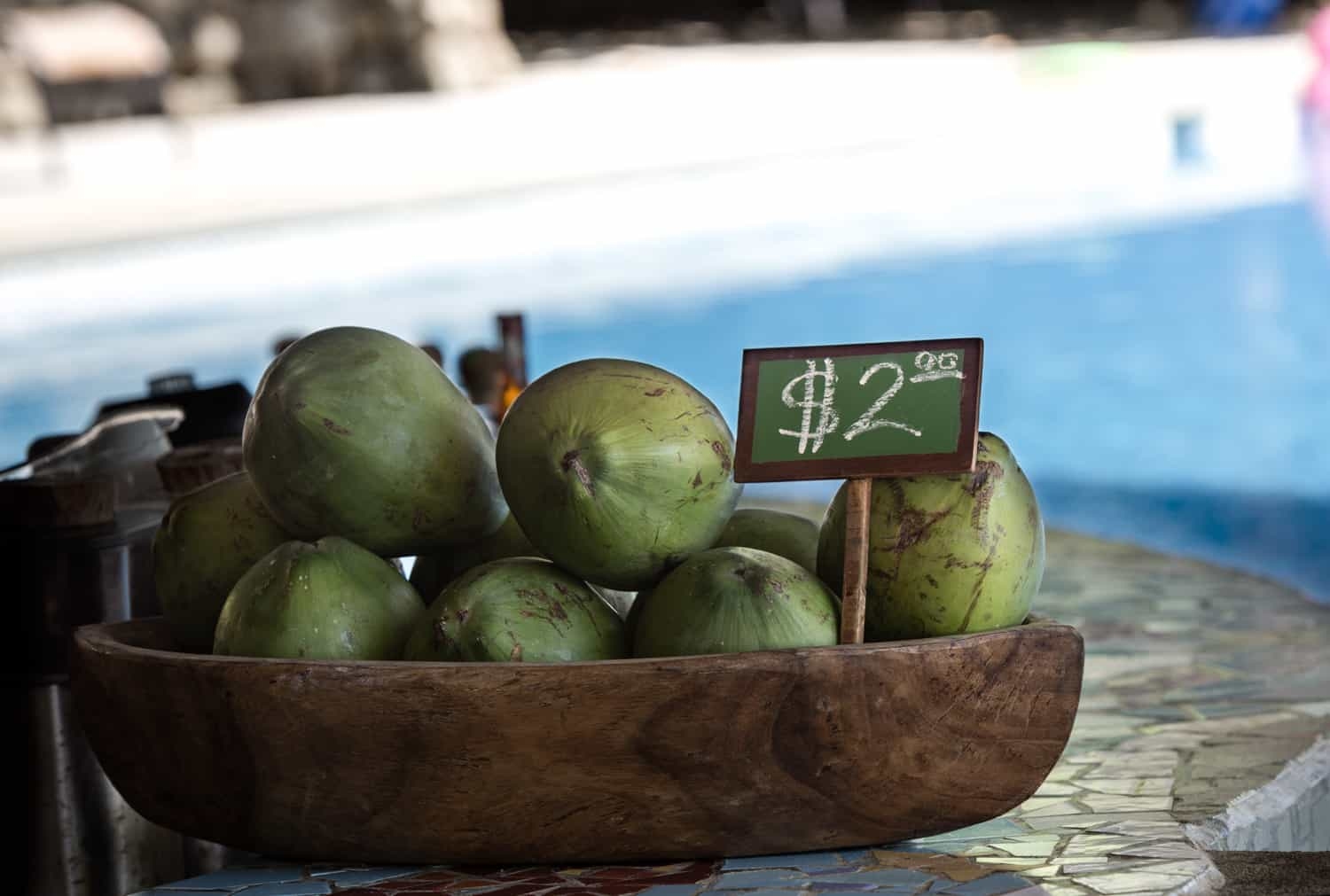 Pipas for sale at the submerged bar at Los Cocos Bar & Pool located at the beach area.