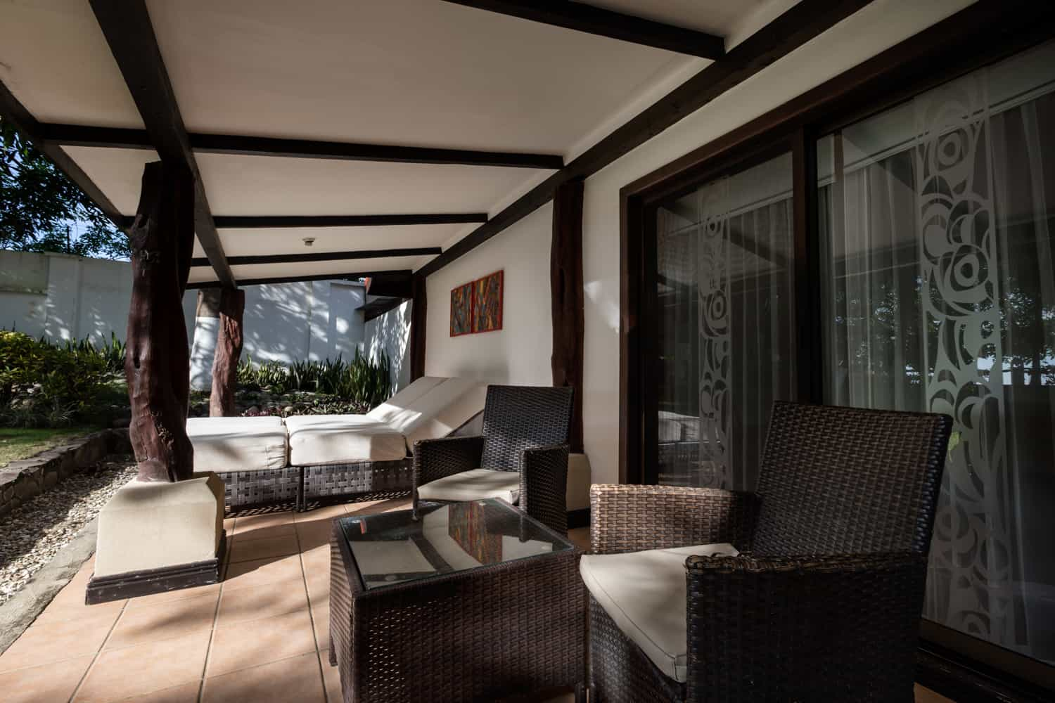 Outside are facing beachfront honeymoon suite  at Bahia del Sol hotel.