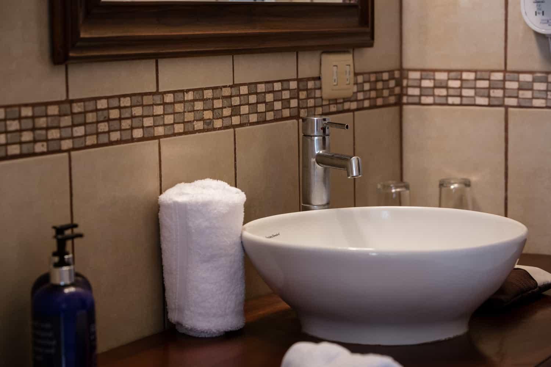 Bathroom sink in Honeymoon Suite at Bahia del Sol.