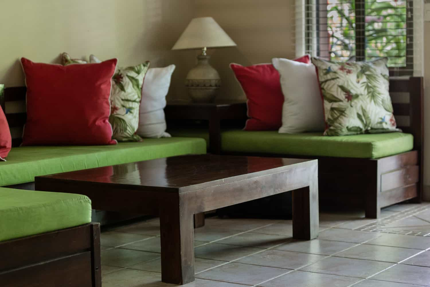 Living area in suite for wedding day guests in Guanacaste.