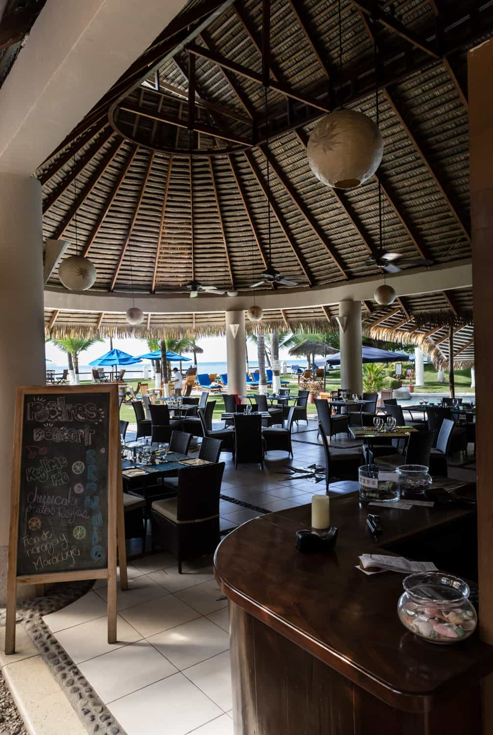 Restaurant with beach view at Bahia del Sol Hotel.