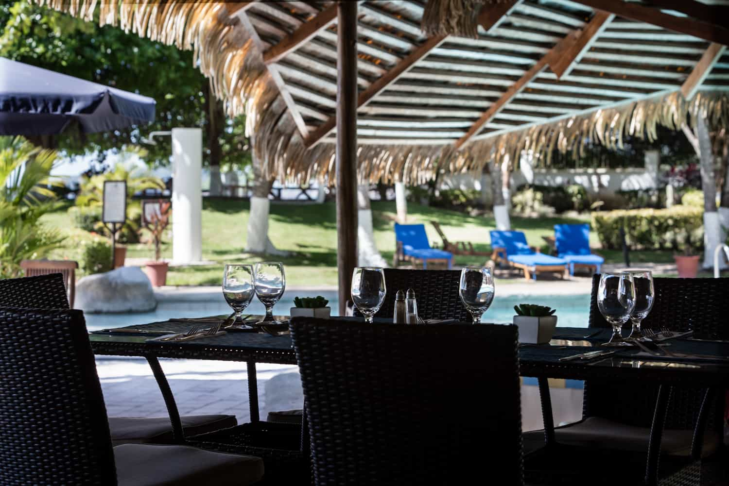 View of pool for wedding guests at Bahia del Sol Hotel.