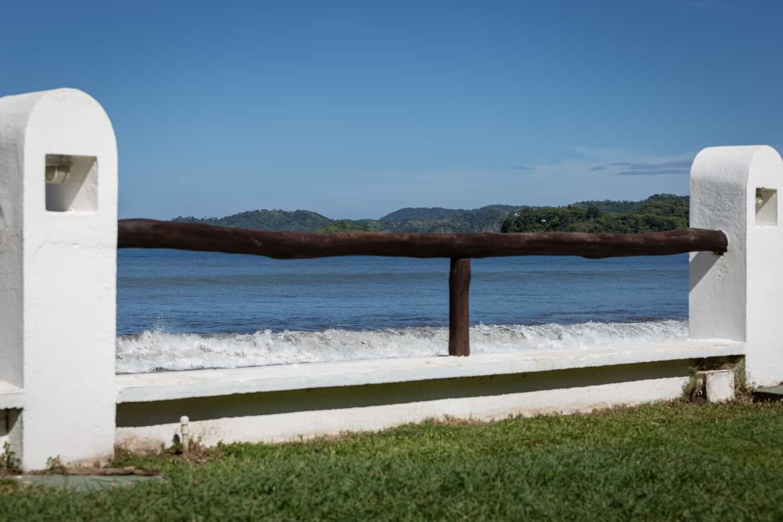 Waves crash on beach near location for beach ceremonies at Bahia del Sol Hotel.