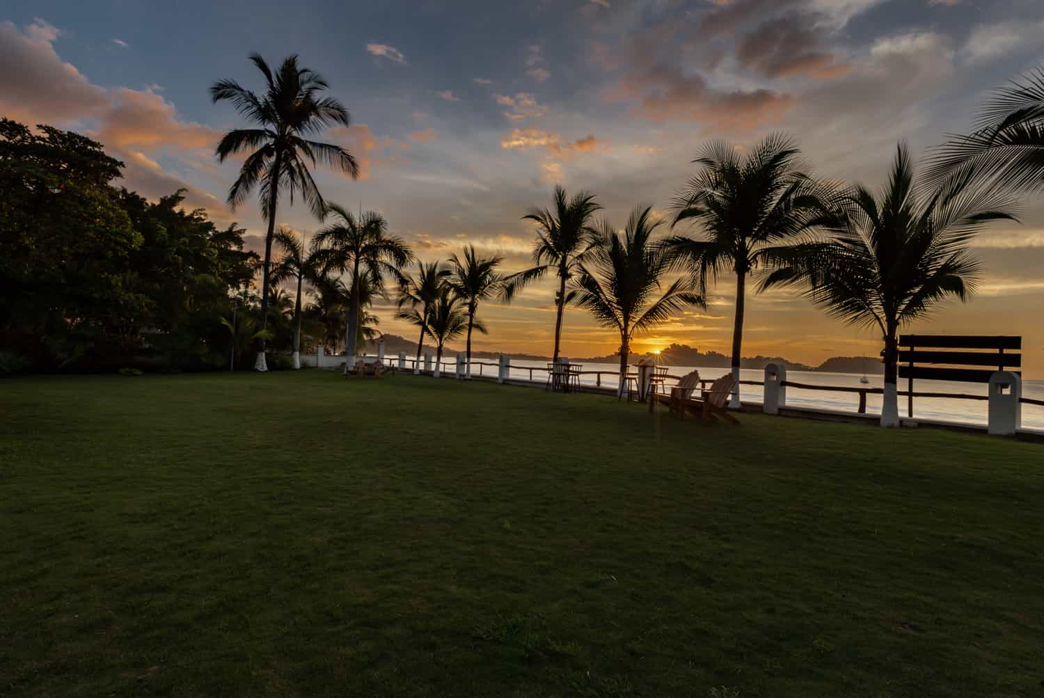 View of sun sunset from large venue for Guanacaste beach wedding.