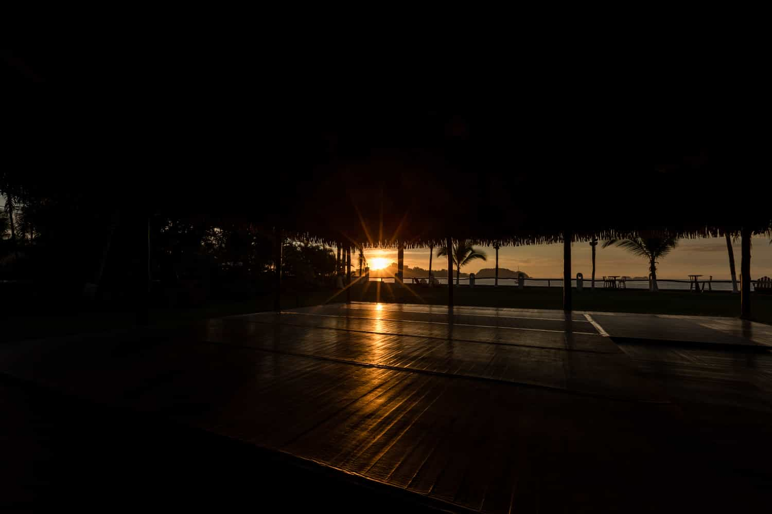 View of sunset from pavilion for weddings in Guanacaste.