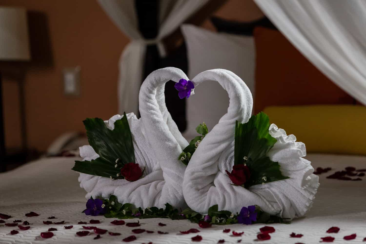 Swans and rose petals decorate canopy bed for just married couple.